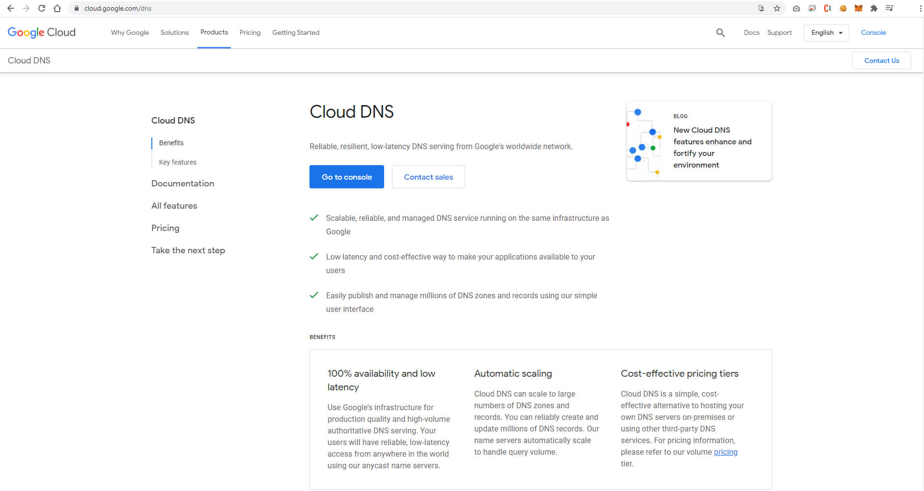 DNS homepage